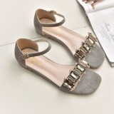 Great Deal European And American Crystal Beautiful New Style Women S Sandals Gray Gray