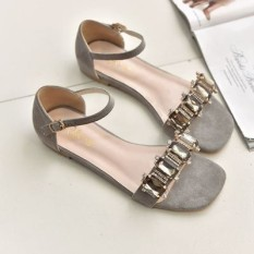 Sale European And American Crystal Beautiful New Style Women S Sandals Gray Gray Oem Cheap
