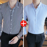 Best Rated Tide Male Casual L Non Iron Thickened Print Shirt Men Shirts Dark Blue Color Light Blue Version2 Dark Blue Color Light Blue Version2