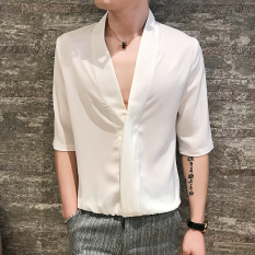 Compare Tide Male Korean V Neck Elbow Sleeve Shirt Shirts White White Prices