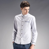 Stylish Mens Casual Plain Color Long Sleeve Floral Print In Cuff Slim Fit Shirt Light Grey Intl Shop