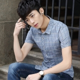 Sale Stylish Teenager Business Casual Short Sleeved Shirt Korean Style Plaid Shirt Gray Other Cheap