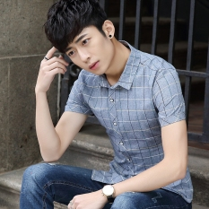 Where Can You Buy Stylish Teenager Business Casual Short Sleeved Shirt Korean Style Plaid Shirt Gray