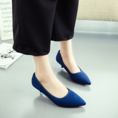 Cheapest Suede Female Thin Heeled Pointed High Heeled Shoes Autumn Shoes Blue Online
