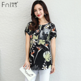 Who Sells Floral Print New Style Short Sleeved Women S Women S Blouses Black Cheap