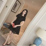 Korean Style Summer New Style Slim Fit High Waisted Dress Black China