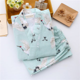 Recent Women Summer Autumn Japanese Style Floral Sweat Steaming Gauze Kimono Japanese Green Crane Pajama Pants