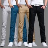 Price Summer Autumn Cotton Multicolor Men Pants Business Or Casual Style Slim Fit Trousers Straight Long Pants On China