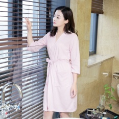 Price Summer Autumn Women Lady Sleep Robes Cropped Sleeves Mid Length Female Bathing Robes Loose Cardigans Elasticated Waist Nightgown Pink Intl Online China