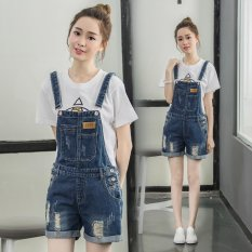Summer Bib Short Jeans Cute Hot Pants Student Bib Shorts Denim Hot Pants Belt Short Jeans Flattering Casual Beach Straps Trousers Patch Frayed Jeans Intl On Line