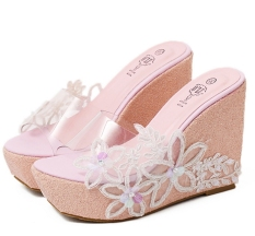 Low Cost Summer Bohemia Bright Rhinestone Thick High Heeled Platform Crystal Cool Lace Fish Mouth Ladies Slippers Shoes