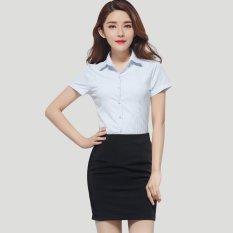 Review Summer Business Office Women 2 Pieces Shirt Skirt Set Short Sleeve Ol Ladies Female Work Suit Intl China