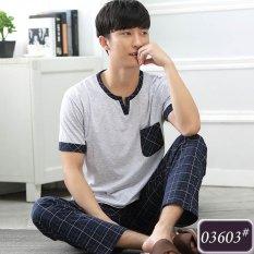 25dc6686965 Summer Leisure Men Pure Cotton Stripe Short Sleeve Pajamas Plus-sized Cotton  Pants Men s Homewear