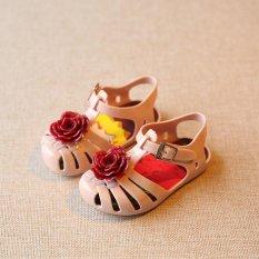 30fc9eb50e74 Summer Children Rose flower style Girls Jelly sandals  Kids slipper shoe  (Apricot) SD016