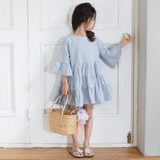 Large Korean Style Cotton Blue Girls Half Sleeve Shirt Dress Sale