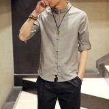 Cheapest Summer Chinese Style Costume Men Young Linen Slim Fit Short Sleeved Casual Shirt Men Linen National Wind Lay Han Chinese Clothing Dark Gray Color Online