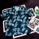 Buy Summer Personality Pineapples Leaves Loose Fit Shirt Sapphire Blue Color Sapphire Blue Color Other