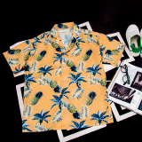 For Sale Summer Personality Pineapples Leaves Loose Fit Shirt Yellow Yellow