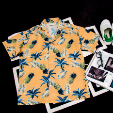 Summer Personality Pineapples Leaves Loose Fit Shirt Yellow Yellow Online