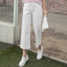 Purchase Loose Cotton Linen Summer Plus Sized High Waisted Straight Pant White White Online