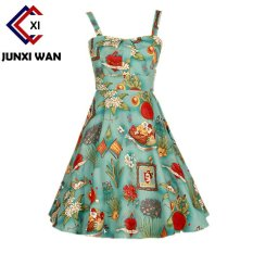 Summer Dress 2017 Audrey Hepburn Women Retro Vintage 1950S 60S Rockabilly Floral Swing Summer Dresses Elegant Tunic Vestidos Wq0980 900 Green Intl Oem Cheap On China