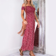 Sale Summer Dress New Fashion Women Casual S*xy Off Shoulder Floral Print Long Dress Strapless Beach Dress Red Intl Oem Branded