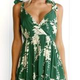 Cheaper Summer Dress Women Deep V Neck S*xy Dress Female Backless Sleeveless Print Dress Bohemia High Waist Mini Dress Vestidos Intl