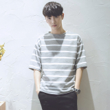 Review Wild Summer Striped Loose T Shirt Gray China
