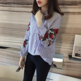 Compare Price Summer Korean Fashion Outfits For Women Rose Floral Embroidery Stripe Shirt Loose Blouse Top With Buttons And Long Puff Sleeve Polo Neck Seamless Celebrities Ladies Casual Street Style Blue Intl On China