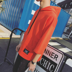 Loose Fit Summer Men Hoodies Korean Hooded Short Sleeve T Shirt Red Red Shopping
