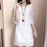 Discount Summer Korean Women Elegant Midi Long Knee Length Floral Lace Dress O Neck S*xy Hollow Out Seamless Lace Top Half Sleeve Straight Casual Fashion Overall Solid Loose Fit White Intl China