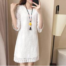 Cheapest Summer Korean Women Elegant Midi Long Knee Length Floral Lace Dress O Neck S*xy Hollow Out Seamless Lace Top Half Sleeve Straight Casual Fashion Overall Solid Loose Fit White Intl