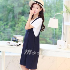 New Summer Korean Women Fashion Two Pcs Set Ladies Casual Pleated Dress Korean Style Swing Dresses With Pockets And T Shirt Classic Midi Knee Length Plain Dress Maternity Dress Pregnant Skirts Wear Lactation Breastfeeding Dress Intl