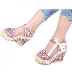 Sale Summer Ladies Wedge Heel Sandals Flower Print Bowknot Lace Up Water Resistance Pink Oem Branded