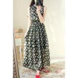 New Summer Lady Casual Beach Sleeveless Maxi Dress O Neck Floral Printed Long Dress Black Intl