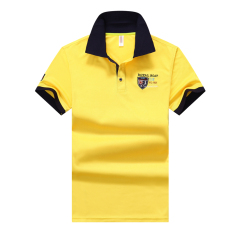Review Summer Lapel Golf Paul Shirt Business Men S Shirt Collar Breathable Mesh Cloth Short Sleeved Short Sleeve Men S Shirt Yellow Oem
