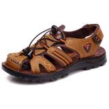 Sale Men S Men S Baotou Breathable Non Slip Leather Sandals Khaki Khaki Oem Branded
