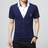 Men S Spell Color Collar Loose Short Sleeved Cotton Short Sleeved T H008 Blue Best Price