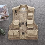 Outdoor Mesh Multi Pockets Advertising Fishing Vest Photography Vest Beige Online