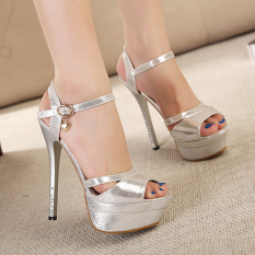Sale Summer New 14Cm High Heels Korea Princess Nightclub S*xy Rhinestone Sandals Fish Head Word Buckle Shoes Women Shoes Silver China Cheap