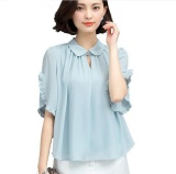 Summer New Fashion Ruffles Short Sleeved Women Casual Loose Chiffon Blouse Ladies Chiffon Plus Size Shirt Top Plus Size 4Xl Intl Price Comparison