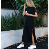 Deals For Summer New Fashion Side High Slit Long T Shirt Women S*x Dress Short Sleeves Black Slim Fit Dress Black Intl