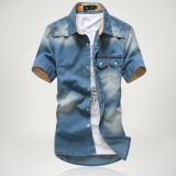 Cheap Korean Denim Slim Fit Men Short Sleeve Shirts Medium Blue Medium Blue