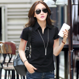 Low Price Female New Style Slim Fit Collar Slimming Effect Cotton Solid Color Short Sleeved T Shirt Black
