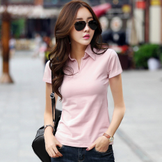 Female New Style Slim Fit Collar Slimming Effect Cotton Solid Color Short Sleeved T Shirt Lotus Pink Discount Code