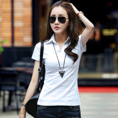 Female New Style Slim Fit Collar Slimming Effect Cotton Solid Color Short Sleeved T Shirt White Coupon Code