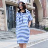 Buy Loose Korean Style Female Mid Length Striped Bottom T Shirt A Blue And White Striped Oem Original