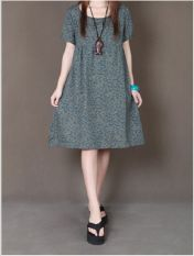 Get Cheap Women S Loose Plus Size Cotton Linen Midi Dress Gray Green Gray Green