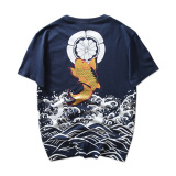 Men S Japanese Style Wave And Bronze Carp Print Short Sleeve T Shirt Blue Blue Best Price