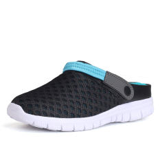 Low Price Beach Mesh Slip Resistant Tide Shoes Men Shoes Black And Blue Black And Blue
